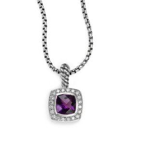 "David Yurman 7mm Albion amethyst and diamonds 18"""